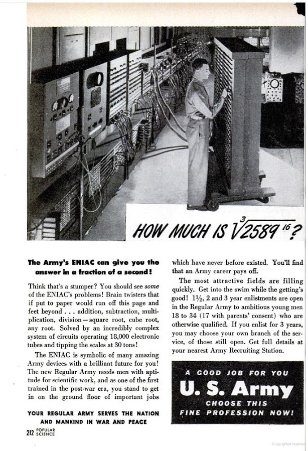 US Army ad boasting about the ENIAC and its impressive computing power
